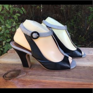 Jeffrey Campbell T Strap Two Toned Mrano Heels